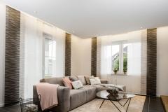 Teba FlächenvorhangModell: DüsseldorfStoff: braun-weiß 2784-2783 im Wohnzimm