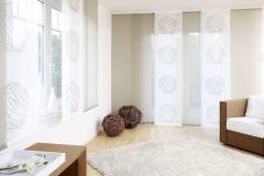 Teba Flächenvorhang Düsseldorf 2629, 2526 braun-weiß Stimmungsaufnah