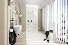 Teba Lamellenvorhang 2414 weiß Stimmungsaufnahme im Badezimmer  Anlage mit neuer Design-Schiene in weiÃ