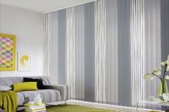 Teba Lamellenvorhang 3001, 3083, 3084 grau mit Streifenmuster Stimmungsbild
